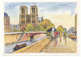 Paris - Notre-Dame Et Les Bouquinistes - Peintures De Alfau - Editions Krisarts - Notre Dame De Paris
