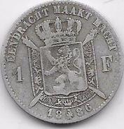 Belgique - 1 Franc 1886 - Argent - 07. 1 Franc