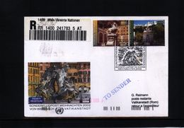 UNO Wien 2002 Sonderflugpost Wien-Vatican - Wien - Internationales Zentrum