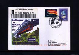 UNO Wien 2001 Sonderflugpost Wien-Wuppertal - Vienna – International Centre