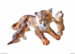 3 Figurine Ancienne Allemande Famille Tigre Biscuit Animal 1890 Bisque Miniature - Ceramics & Pottery