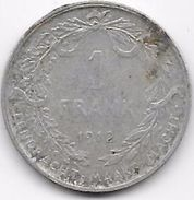 Belgique - 1 Franc 1912 - Argent - 1909-1934: Albert I