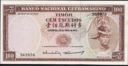 TIMOR  P28a 100 ESCUDOS 1963  UNC. - Timor