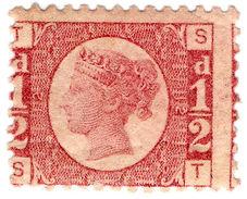 (I.B-CK) QV Postal : ½d Rose-Red (plate 12) SG 48 - 1840-1901 (Victoria)