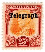 (I.B) Sarawak Telegraphs : Overprint 25c - Sarawak (...-1963)