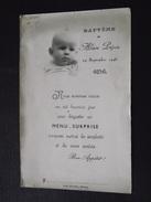 MENU SURPRISE De BAPTÊME Du 29 Septembre 1946 - Alain Pépin - Imp.à Bernay (Eure) - Photo Du Baptisé - A Voir ! - Menus