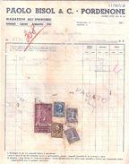 FATTURA Marca Da Bollo PAOLO BISOL & C. PORDENONE Magazzino Ingrosso Liquori  1946 - Italia