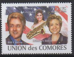 Comores Comoros Komoren 2008 USA President Bill Hillary Clinton Monica Levinsky Music Saxophone Mi. I-VI Bl. I Unissued - Musique