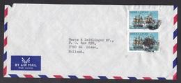 Sierra Leone: Airmail Cover To Netherlands, 2 Stamps, British Navy Vessel, Sailing Ship, Sea War, Naval (minor Damage) - Sierra Leone (1961-...)
