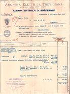 FATTURA - ANONIMA ELETTRICA TREVIGIANA - Canone Fornitura Energia Elettrica 1941 - Italia