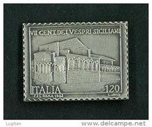 NUMISMATICA - FRANCOBOLLO IN ARGENTO - VII CENTENARIO DEI VESPRI SICILIANI - ANNO 1982 - IN ASTUCCIO - IPZS - Altri
