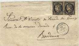 Mars 1849- DEVANT De Lettre De Toulouse ( Hte Garonne ) Cad T15 Affr. Paire N°3 ( 4 Marges )  Oblit. Grille - Postmark Collection (Covers)