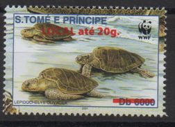 S. Tomé & Principe 2001 / 2009 WWF W.W.F. Faune Fauna Turtle Reptile Schildkröte Overprint Surch. Tortue Mi. I Unissued - W.W.F.