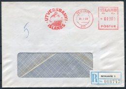 1968 Iceland Reykjavik Utvegsbanki Reistered Franking Machine Bank Cover - 1944-... Republic