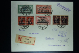 Memel Einschreiben Umschlag Memel Nach Dortmund Mi 24 + 25 + 34   Zensur MPK Köningsberg  28-9-1921 - Klaipeda