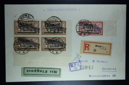 Memel Flugpost  Einschreiben Umschlag Memel Nach Dortmund Mi 4* 43 Platte II + 44   Zensur MPK Köningsberg  17-5-1922 - Memelgebiet