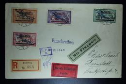 Memel Flugpost  Expres Umschlag Heydekrug Nach Darmstadt Mi 73+75+80+81   Zensur MPK Köningsberg  27-6-1922 - Klaipeda