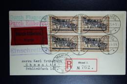 Memel Einschreiben Express Luftpost Umschlag Memel Zu Chemnitz  Mi 43 Platte I 4-block Luftpostbefördert Memel 3-10-1921 - Klaipeda