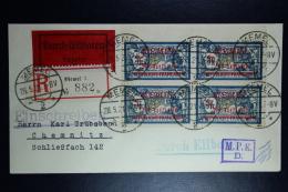 Memel Einschreiben Express Umschlag Memel Zu Chemnitz  Mi 33  4-block   28-05-1921 Zensur MPK Köningsberg - Klaipeda