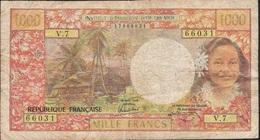 TAHITI P27d 1000 FRANCS Signature 5 FINE 1985 - Papeete (French Polynesia 1914-1985)
