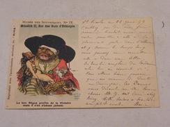 Carte Postale Musée Des Souverains N°IX Ménélik II Roi Des Rois D'Ethiopie - Satira