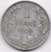 Belgique - 1 Franc 1909 - Argent - 07. 1 Franc