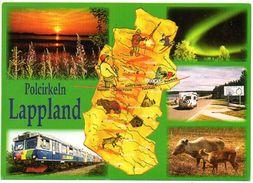 Lapland Poolcirkel Lappland Polcirkeln Multi View Oa Landkaart  Carte Géographique Geografische Karte - Cartes Postales