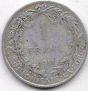 Belgique - 1 Franc 1911 - Argent - 1909-1934: Albert I