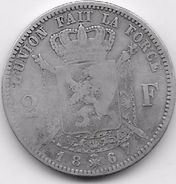 Belgique - 2 Francs 1867 - Argent - 1865-1909: Leopold II