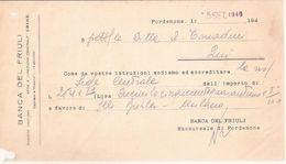 Cambiale BANCA DEL FRULI Di Pordenone A Favore Di F.lli BUHLER Di Milano 1946 - Cambiali