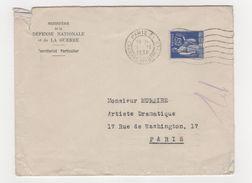 Enveloppe Avec Timbre 65 C Type Paix 1938 Ministère De La Défense Nationale Et De La Guerre, Envoyé à M. MURAIRE (Raimu) - Poststempel (Briefe)
