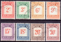SEYCHELLES 1951 SG #D1-D8 Compl.set Postage Due Used CV £48 - Seychelles (...-1976)
