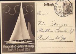 Carte Olympische Segelwettkämpfe Kiel 4 14 August 1936 Entier 6 Et 4 Cloche Aigle Anneaux Olympiques Régate - Germania