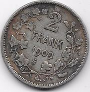 Belgique - 2 Francs 1909 - Argent - 1865-1909: Leopold II