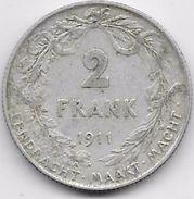 Belgique - 2 Francs 1909 - Argent - 1909-1934: Albert I