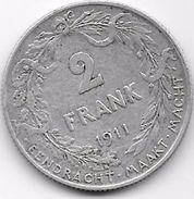 Belgique - 2 Francs 1911 - Argent - 1909-1934: Alberto I
