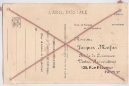 Bk - Repiquage Jacques Marfan, Rue Réaumur Paris Sur Cpa Temple Angkor Vat (ficelles En Croix  !!) - Marcophilie (Lettres)