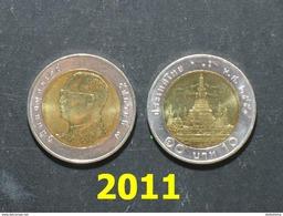 Thailand Coin Circulation 10 Baht Bi Metal Year 2011 UNC - Thailand