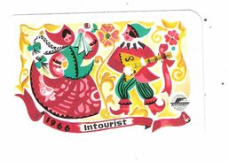 Petit CALENDRIER  Calendar Année 1966 Intourist ,Compagnie Aérienne Illustrée Folklore; Menestrel ; TB - Calendriers