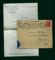 Francia - Carta Con Membrete (Hotel Albert 1º)  Año 1936 - Documentos Antiguos