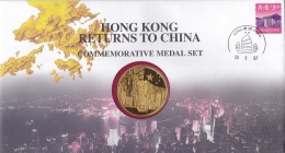 """CHINE CHINA :  Médaille Commémorative 1997  """" Hong-Kong Returns To China """"  Voir Description - Jetons & Médailles"""