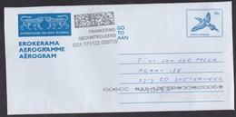 Bophuthatswana: Stationery Aerogramme To Netherlands, Bird, No Cancel, Dutch Postage Due Mark, Taxed (traces Of Use) - Bophuthatswana