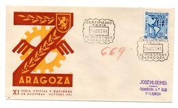 Carta Con Matasellos Commemorativo Feria De Muestras Zaragoza 1951 - 1951-60 Briefe U. Dokumente