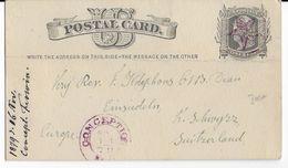 """USA - 1879 - CARTE ENTIER Avec OBLITERATION """"ETOILE"""" De CONCEPTION (MISSOURI) RARE => SCHWYTZ (SUISSE) - Poststempel"""