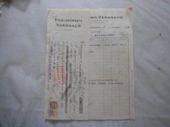 TERRASSON  ETABLISSEMENTS VERGNAUD FACTURE ET TRAITE DU 7 NOVEMBRE 1933 - France