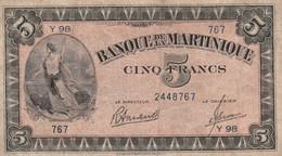 Billet De 5 Francs De Martinique Ref Kolsky 318c B En état Plis Mais Pas De Trous - Billets