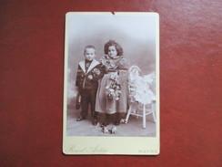 GRAND CDV PHOTO ENFANTS POUPEE CHAISE HAUTE PHOTO RAOUL AUTIN LE HAVRE - Cartes De Visite