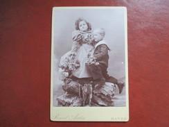 GRAND CDV PHOTO ENFANTS FLEURS  PHOTO RAOUL AUTIN LE HAVRE - Cartes De Visite