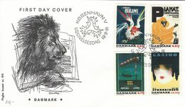 Posters On Stamps  SG 965 - 968.  Fdc.  Denmark.  H-1200 - Art