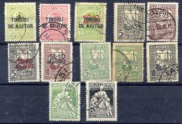 ROMANIA 1915-21 Obligatory Tax Stamps (Ajutor)  Used.  Michel 1-10 - 1918-1948 Ferdinand I., Charles II & Michel
